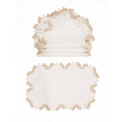 0.1 in. H x 19 in. W x 13 in. D Anais Elegant Lace Embroidered Cutwork Placemats (Set of 4)