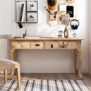 Amani 53 in. W Rectangular Natural Mango Wood 6-Drawer Writing Desk