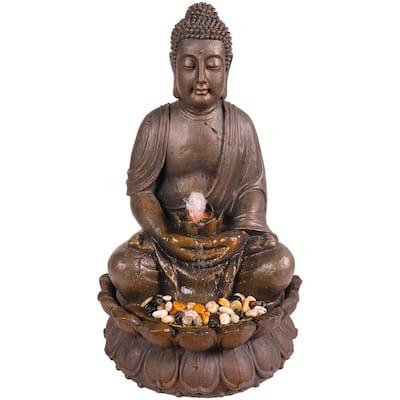 33 in. Tall Indoor/Outdoor Meditating Buddha Water Fountain Yard Decor