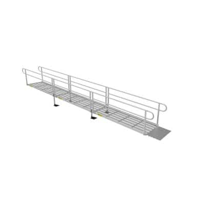 PATHWAY 3G 24 ft. Wheelchair Ramp Kit with Expanded Metal Surface and Two-line Handrails