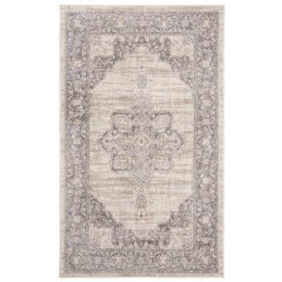 Brentwood Cream/Gray 3 ft. x 5 ft. Area Rug