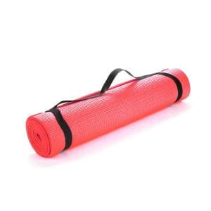 All Purpose Extra Thick Red Fitness & Exercise 24 in. x 68 in. Yoga Mat with Carrying Strap
