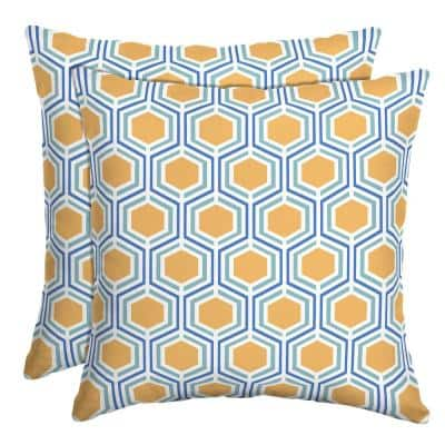 16 in. x 16 in. Honeycomb Outdoor Throw Pillow (2-Pack)