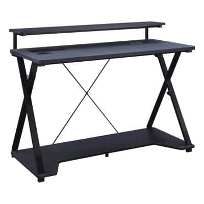 Checkpoint 47 in. Rectangular Black Computer Gaming Desk with RGB LED Lights