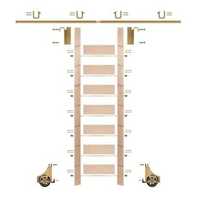 92 in. Un-Finished Maple Library Ladder (104 in. Reach) Polished Brass Sliding Hook Ladder Kit with 12 ft. Rail