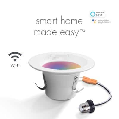 Wi-Fi Smart 4 in. 10-Watt LED Color Changing RGB Tunable White Retrofit Recessed Light Trim, No Hub Required
