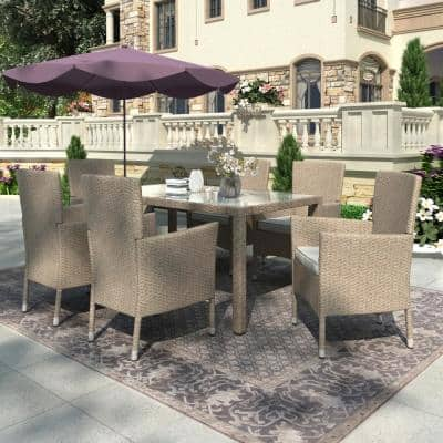 Beige Brown 7-Piece Wicker Outdoor Dining Set with Beige Cushions