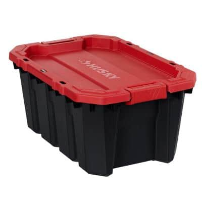 15 Gal. Black and Red Latch and Stack Tote