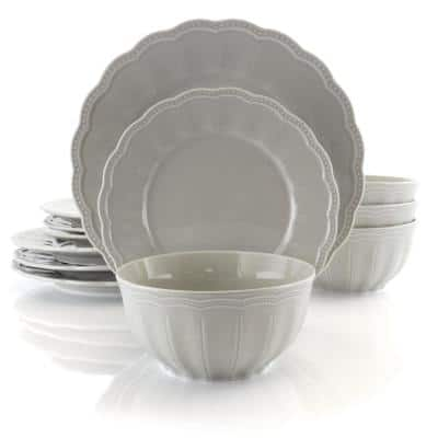 Ultra 12-Piece Casual Taupe Ceramic Dinnerware Set (Service for 4)