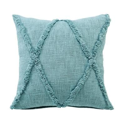 Solid Blue Diamond Tufted Poly-fill 20 in. x 20 in. Cotton Throw Pillow