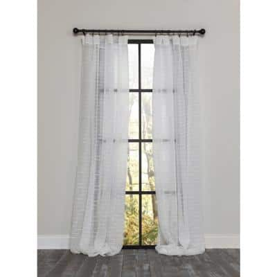 Off White Striped Rod Pocket Sheer Curtain - 54 in. W x 63 in. L