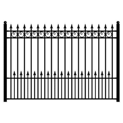 Prague Style 5 ft. x 8 ft. Black Iron Fence Panel