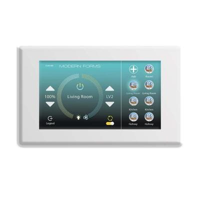 Wi-Fi Touch Panel Ceiling Fan Wall Control with Mounting Bracket in White