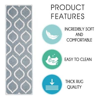Drop Gray 9 in. x 28 in. Cotton Carpet Stair Tread Cover (Set of 7)