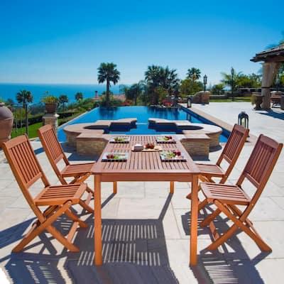 Balthazar Eucalyptus 5-Piece Wood Patio Dining Set with Folding Chairs