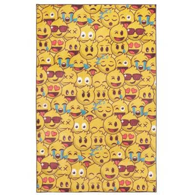 Emoji Play Yellow 3 ft. x 5 ft. Contemporary Area Rug