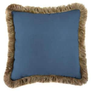 Sunbrella Canvas Sapphire Blue Square Outdoor Throw Pillow with Heather Beige Fringe