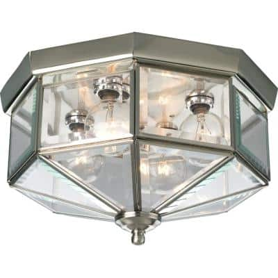 "4-Light Brushed Nickel Clear Beveled Glass Traditional Indoor Outdoor 11-1/8"" Flush Mount Light"