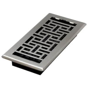 4 in. x 10 in. Steel Brushed Nickel Oriental Design Floor Register