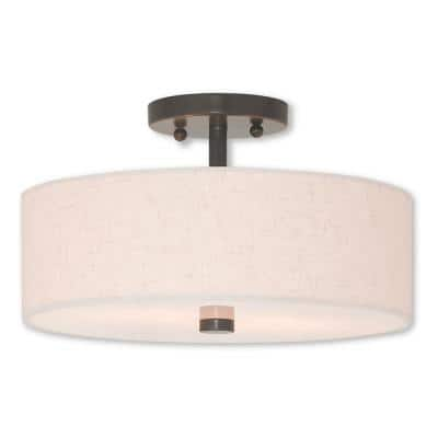 Meridian 2 Light English Bronze Semi Flush Mount