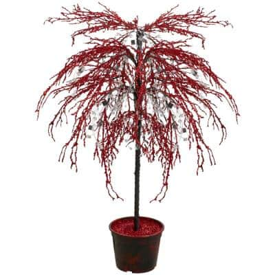 46 in. Red Crystallized Glitter Potted Holiday Tree - Mirrors and Beads