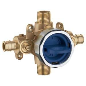 GrohSafe 3.0 Pressure Balance Valve Rough with Flush Plug with PEX Cold Expansion Outlets with Service Stops