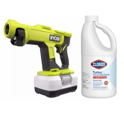 ONE+ 18V Cordless Handheld Electrostatic Sprayer (Tool Only)with Clorox Turbo 64 oz. Disinfectant Cleaner