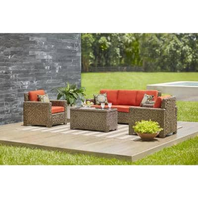 Laguna Point 4-Piece Brown Wicker Outdoor Patio Deep Seating Set with CushionGuard Quarry Red Cushions