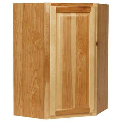 Hampton Assembled 24x36x12 in. Diagonal Corner Wall Kitchen Cabinet in Natural Hickory