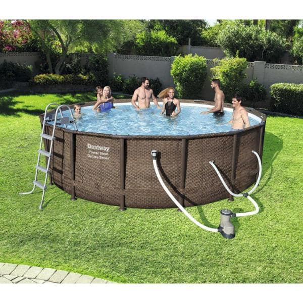 Bestway Bestway Power Steel Deluxe Series 14 Ft X 42 In Round Pool Set 15123 Bw New The Home Depot