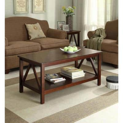 Titian 44 in. Antique Tobacco Large Rectangle Wood Coffee Table with Shelf
