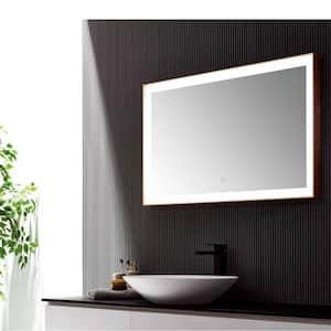 24 in. W x 40 in. H Framed Rectangular LED Light Bathroom Vanity Mirror in gray