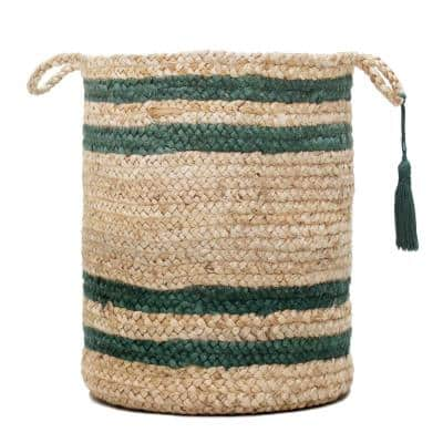 Double Border Striped Natural Jute Tan / Green 17in. Decorate Storage Basket with Handles