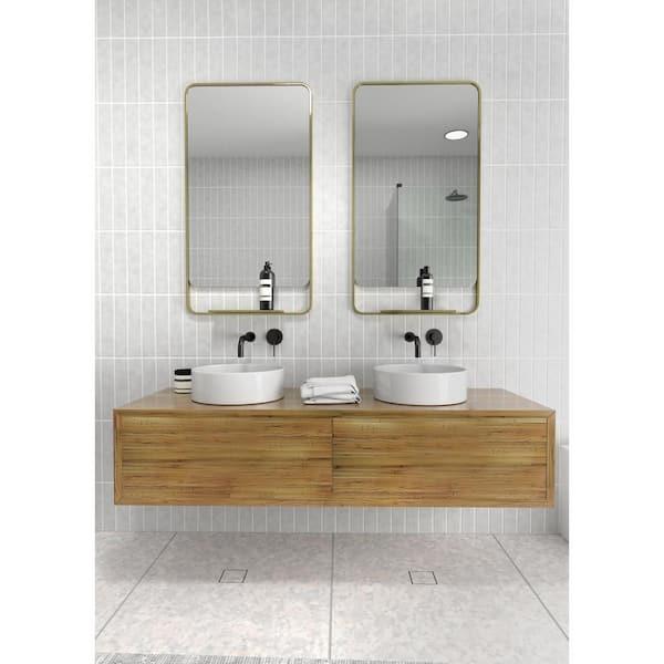 H Framed Square Bathroom Vanity Mirror, Brass Bathroom Mirrors