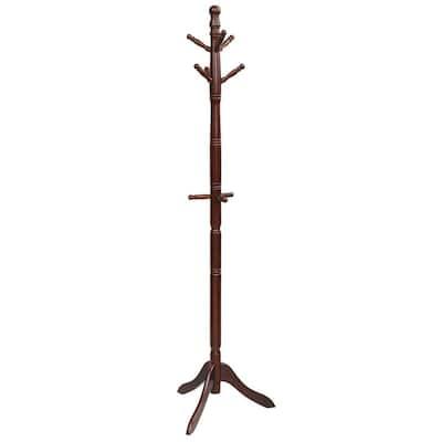 Walnut Free Standing Coat Rack Wooden Hall Tree 2-Adjustable Height with 9-Hooks