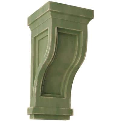 4-3/4 in. x 10 in. x 5 in. Restoration Green Traditional Recessed Wood Vintage Decor Corbel