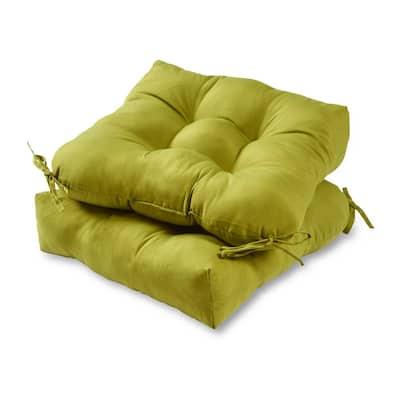Solid Kiwi Square Tufted Outdoor Seat Cushion (2-Set)