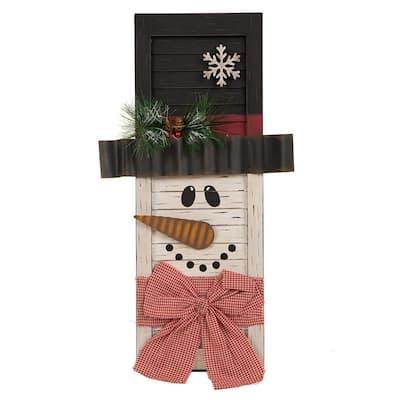 21.85 in. H Wooden Snowman Shutter Decor