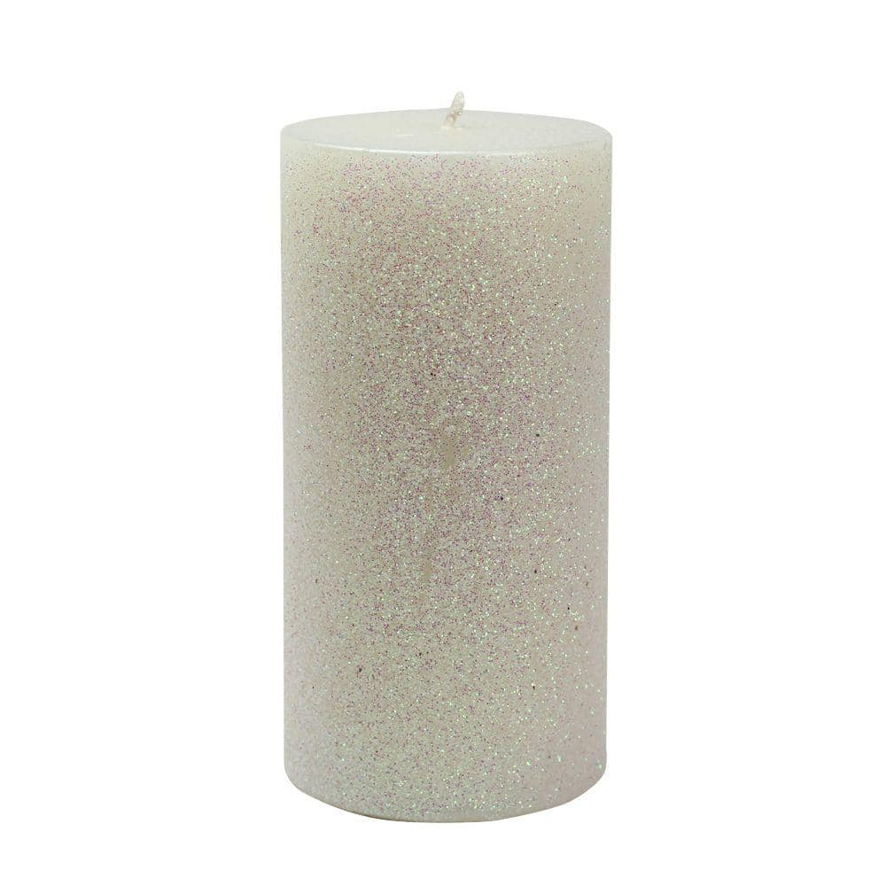 Zest Candle 3 In X 6 In Metallic White Glitter Pillar Candle Bulk 12 Box Cpz 167 12 The Home Depot