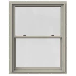 37.375 in. x 48 in. W-2500 Series Desert Sand Painted Clad Wood Double Hung Window w/ Natural Interior and Screen