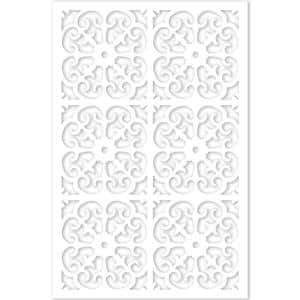 Roman 4 ft. x 32 in. White Vinyl Decorative Screen Panel