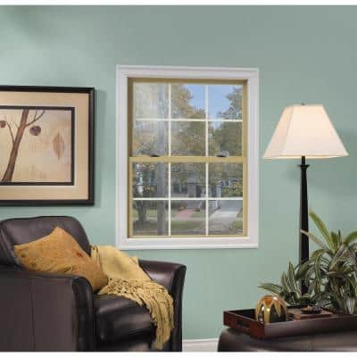 37.375 in. x 36 in. W-2500 Series Red Painted Clad Wood Double Hung Window w/ Natural Interior and Screen