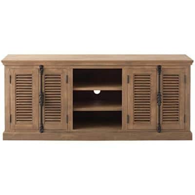 Highland 70 in. Sandblasted Natural Wood TV Stand Fits TVs Up to 65 in. with Storage Doors