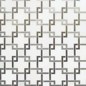 Blanco Lynx 10.47 in. x 10.4 in. x 8mm Polished Stone & Metal Mesh-Mounted Mosaic Tile (7.6 sq. ft./case)