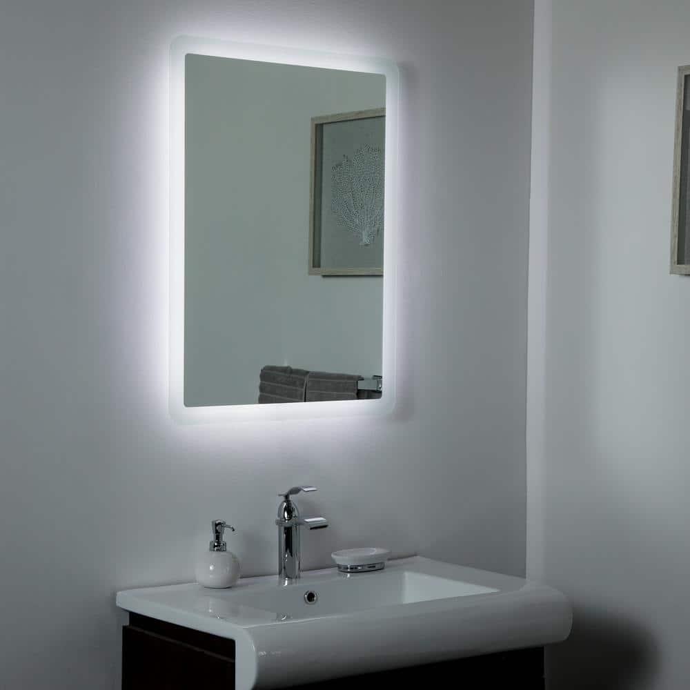 Decor Wonderland 24 In W X 32 In H Frameless Rectangular Led Light Bathroom Vanity Mirror In Silver Ssl1140 The Home Depot