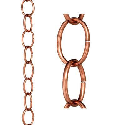 Small Single Link Pure Copper 8.5 ft. Rain Chain