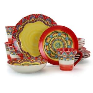 Zen 16-Piece Casual Red Stoneware Dinnerware Set (Service for 4)