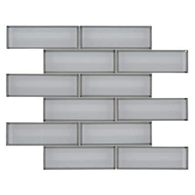 Ice Bevel Subway 11.73 in. x 11.73 in. x 8 mm Glass Blend Mesh-Mounted Mosaic Tile (9.6 sq. ft. /case)