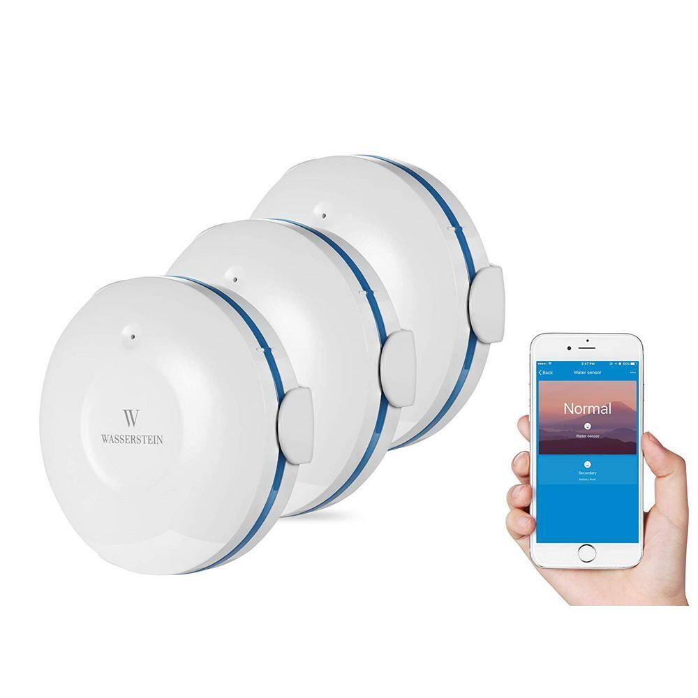 Wasserstein Smart Wi-Fi Water Sensor, Flood and Leak Detector Alarm and App Notification Alerts (3 Pack)