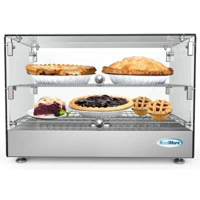 22 in 1.7 cu. Ft. 2 Shelf Countertop Self Service Commercial Food Warmer Display Case in Stainless Steel